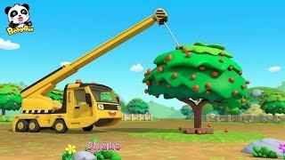 Toy Car Story: Waterwheel, Tractor, Crane   Baby Panda Plants Apple Trees   BabyBus