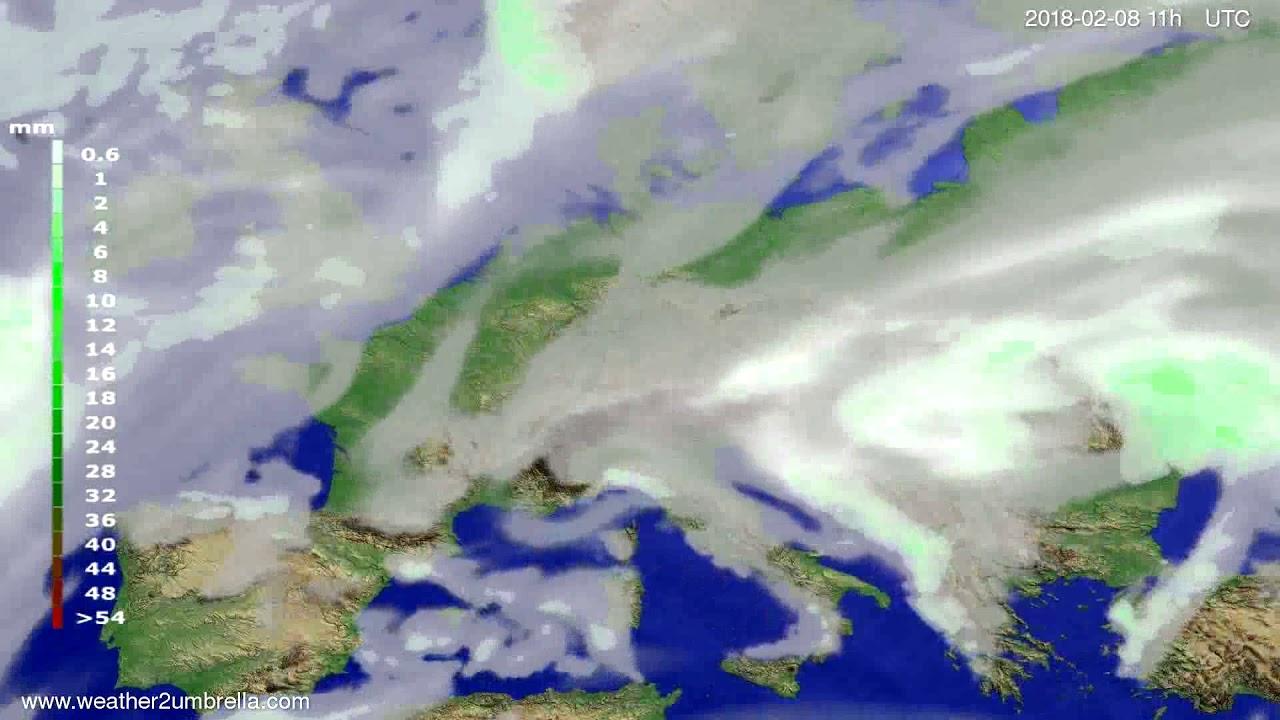 Precipitation forecast Europe 2018-02-05