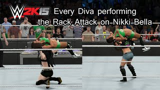 WWE 2K15 (PS4) Every Diva performing the Rack Attack on Nikki Bella