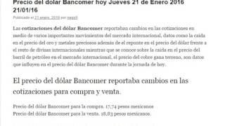 Precio del dolar Bancomer en Mexico hoy Jueves 21 de Enero 2016 21/01/16