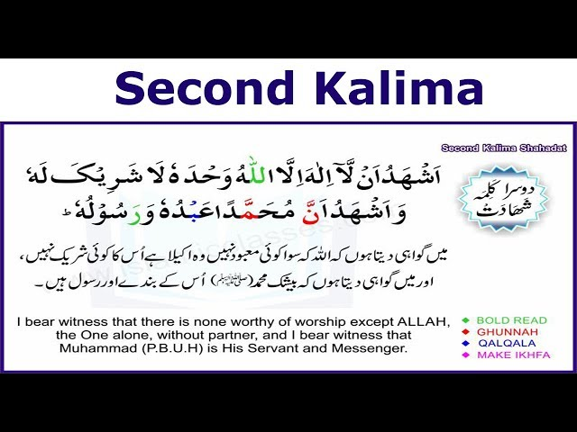 Second Kalima In Arabic With English Translation