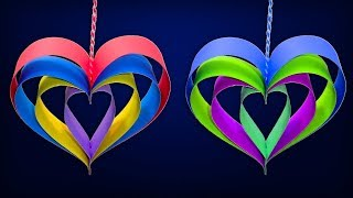 how-to-make-hanging-paper-heart-diy-christmas-crafts-handmade-decorations-with-paper-stripes