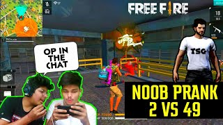 Free Fire Rank Match || We Did Noob Prank On Enemies 2 Vs 49 || Duo Vs Squad Live Reaction