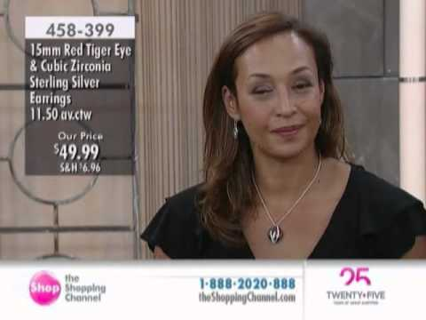Red Tiger Eye & Cubic Zirconia Sterling Silver Earrings at The Shopping Channel 458399