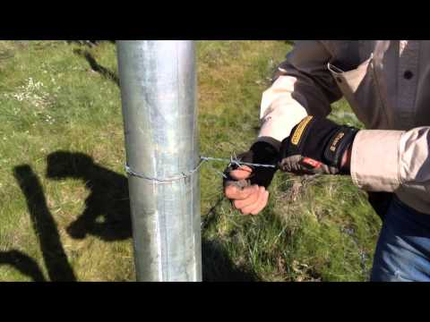 Tying Barb wire to a Strainer Post