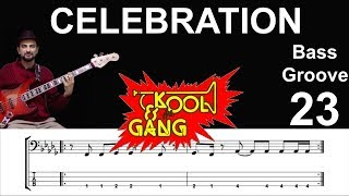 CELEBRATION (Kool & The Gang) How To Play Bass Groove Cover With Score & Tab Lesson