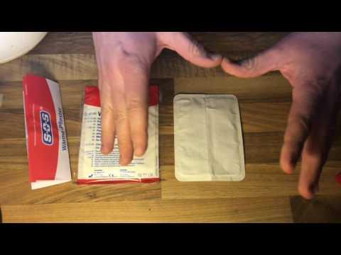 Wärme Pflaster unboxing und Anwendung bei Schulterschmerzen Anleitung