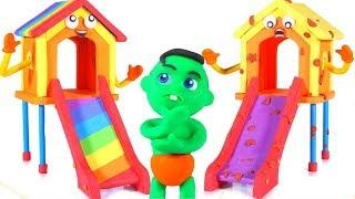 Rainbow Slide VS Muddy Slide ❤ Cartoons For Kids