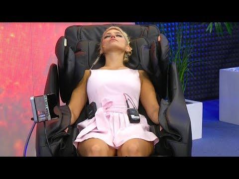 Katie Steiner zeigt den newgen medicals Massagesessel GMS-200.bt bei pearl.tv