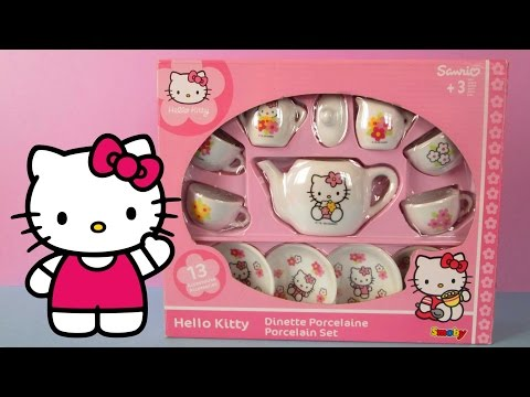 Unboxing Hello Kitty Tea Set, Hello Kitty Juego de tazas de Té, Hello Kitty Dinette Porcelaine.