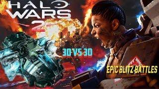 30 Kinsanos vs 30 Bisons   Halo Wars 2 Epic Blitz Battles #1