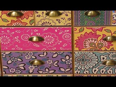 VideoTutorial Mbelschubladen mit Tapeten und Geschenkpapier bekleben