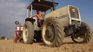 Nine tractors, one trunck in one field [Az  Agr  Rosati] - trebbiatura e semina mais 2017-