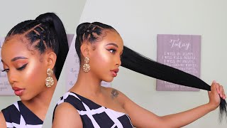 "SPICIEST PONYTAIL FOR SHORT 4C HAIR+ NO HEAT! |32"" shake n go PONY PRO"
