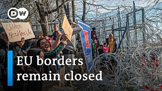 EU solidifies Greek border against refugee influx   DW News