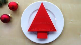 Servietten Falten Weihnachten Einfache Tischdeko