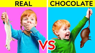 REAL VS CHOCOLATE FOOD || Funny Sweet Prank by 123 GO! PLAY