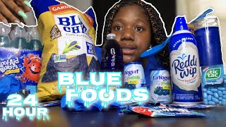 I ONLY ATE BLUE FOODS FOR 24 HOURS *GONE WRONG*🥶😱
