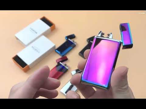 USB зажигалка электронная/электроимпульсная сенсорная с двойной дугой и индикатором заряда Double Arc серебряная (DA-25844) Video #1