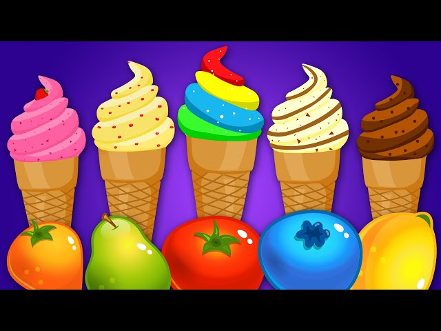 KidsCamp - Learn Colors With Ice Cream Soccer Balls Fruits and Shapes For Toddlers by Kids Camp