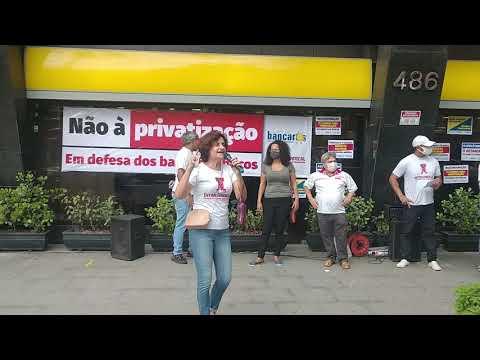 Ato em Santos contra o desmonte do Banco do Brasil - Fala de Eneida