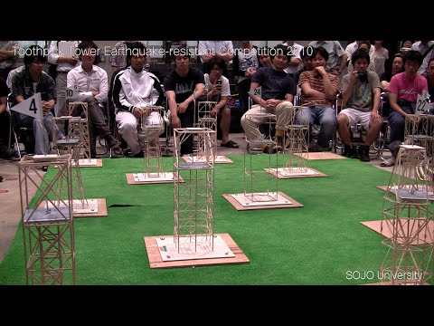 Student's building designs put through an earthquake simulator at Japanese university