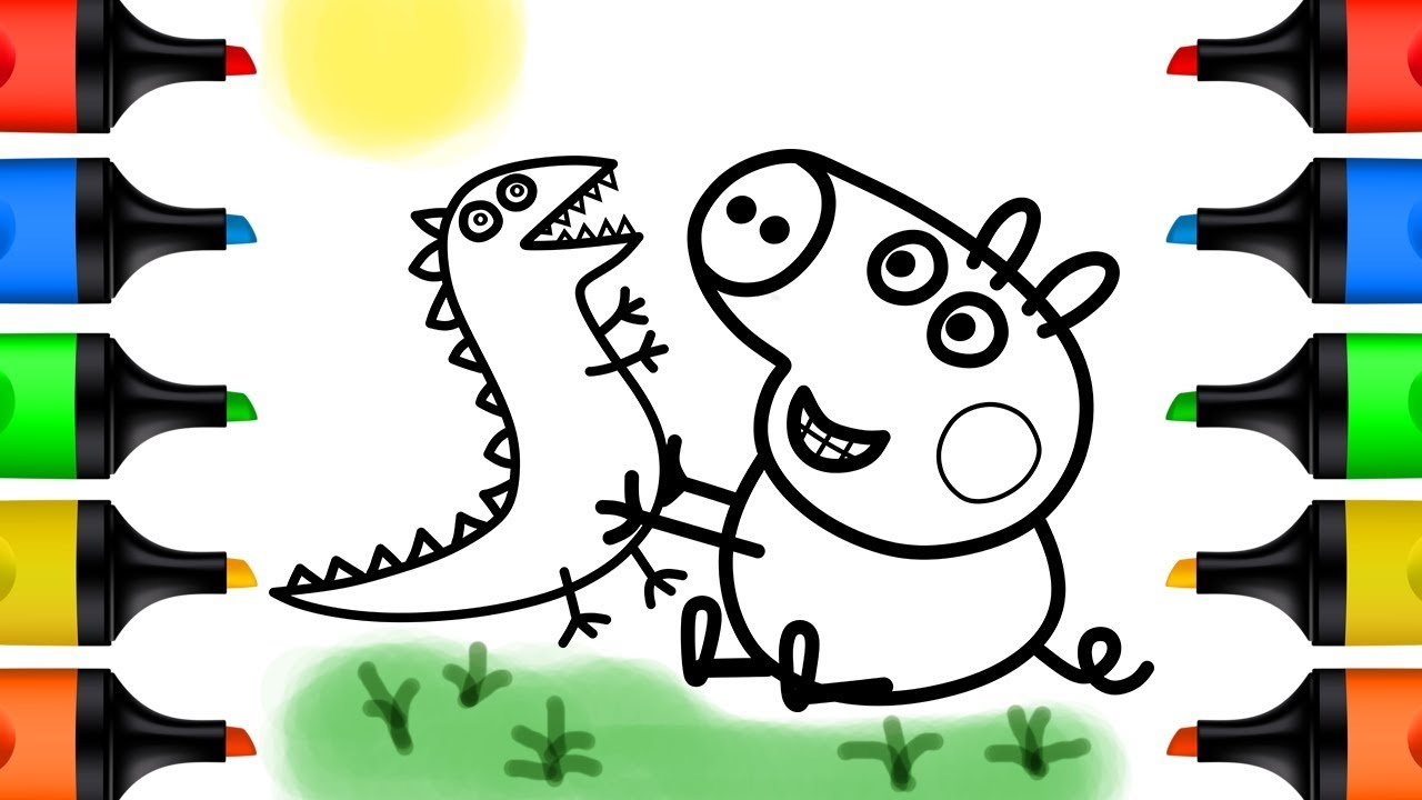 How to Draw Peppa Pig and Dinosaur for Kids Coloring Pages Learn Colors for Baby and Children