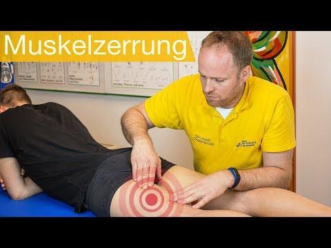 Oberschenkelzerrung - Muskelfaserriss: Untersuchung | Behandlung (Tapen)
