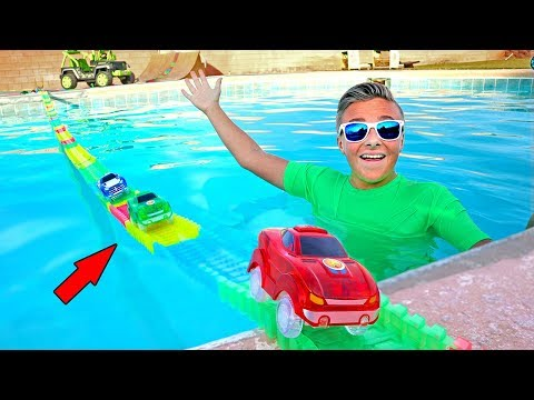 Giant Magic Tracks Swimming Pool Bridge Adventure!
