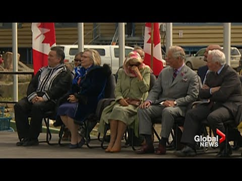Prince Charles and Camilla laughing during throat singers' performance in Iqaluit