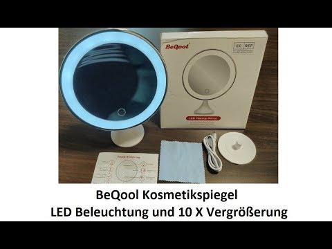 BeQool Kosmetikspiegel - LED Beleuchtung 10x Vergrößerung USB oder Batterie Betrieb