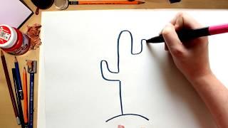 Como dibujar un Cactus del Desierto - dibujos para niños