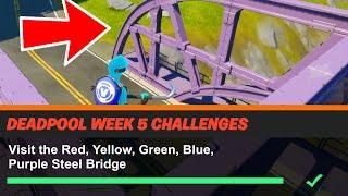 Visit the Red, Yellow, Green, Blue, Purple Steel Bridges Fortnite