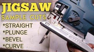 JIGSAW CUTS SAMPLE / STRAIGHT / BEVEL / PLUNGE / CURVE CUT / ORBITAL ACTION SETTING / TEST CUT