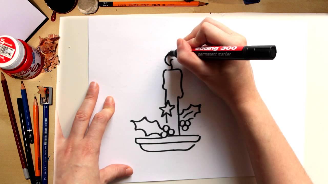 Como desenhar uma Vela de Natal - desenhos de Natal para crianças