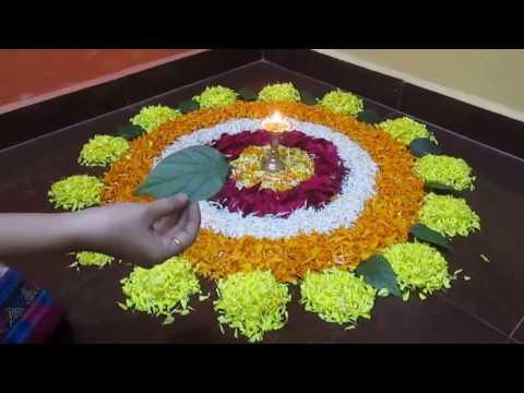 flower rangoli design pookalam
