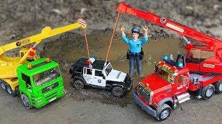 Police Cars, Excavator, Crane Truck Kids Toy Vehicles