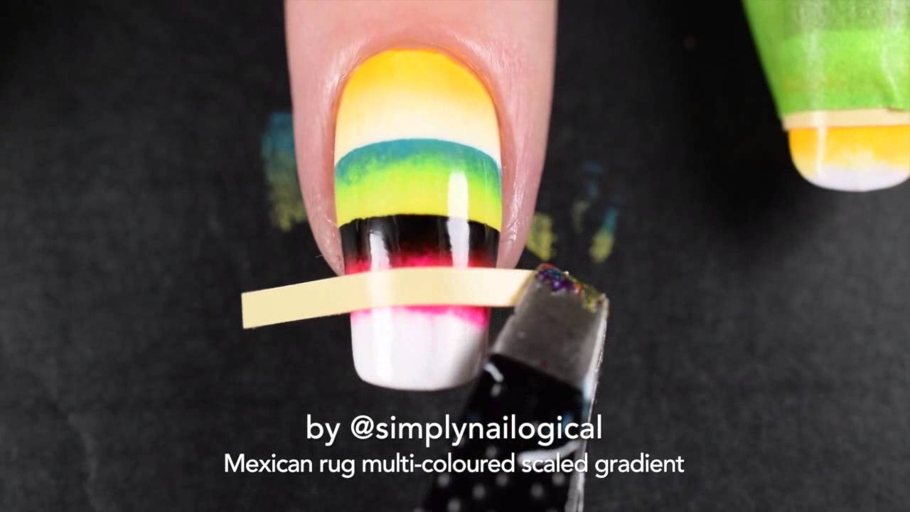 Multi-coloured quadruple scaled gradient - Mexican rug nail art thumbnail
