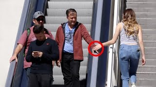 TOUCHING PEOPLES HAND ON THE ESCALATOR 6!!
