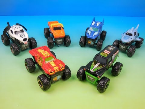 2019 MONSTER JAM FIRE And ICE SET OF 6 McDONALDS HAPPY MEAL KIDS TOYS VIDEO REVIEW