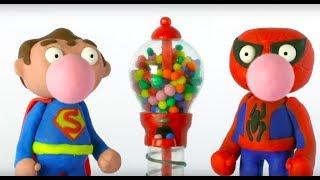 GUMBALL MACHINE SUPERHERO BABIES Play Doh Stop Motion and Cartoons For Kids 💕 Superhero Babies