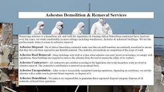 Asbestos Demolition & Removal Services South Africa