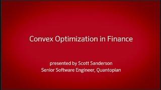 Convex Optimization for Finance