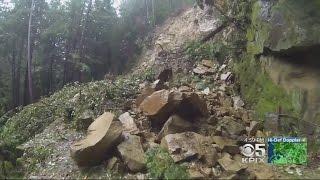 Huge Mudslide Blocks Road In Santa Cruz Mountains