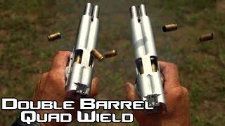 Double Barreled 1911 Pistol Quad Wield Rapid Fire 20 Rounds In 15 Seconds In SlowMo AF2011 4K