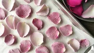 How To QUICKLY Make CANDIED ROSE PETALS Edible Flowers Step By Step / Amazing