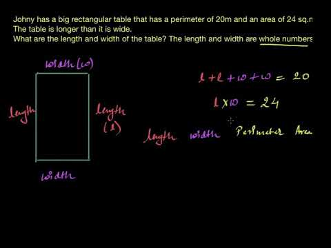 Area and perimeter word problem- table (Hindi)