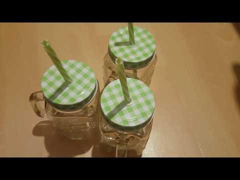 4 Oramics Trinkgläser mit Deckel und Strohhalm 500ml in Grün/Rot