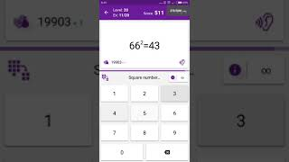 Math Tricks - Training mode - square numbers between 60 and 69 - level 020 (Number Keyboard)