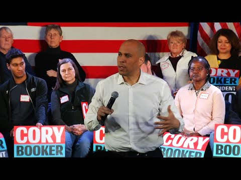 "Sen. Cory Booker kicked off his first visit to New Hampshire as a Democratic presidential candidate Saturday, urging voters to reject the ""powers that are ripping us apart."" (Feb.16)"